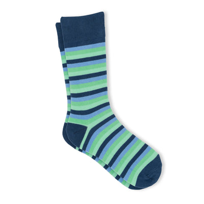 Men's cool blue and green striped socks