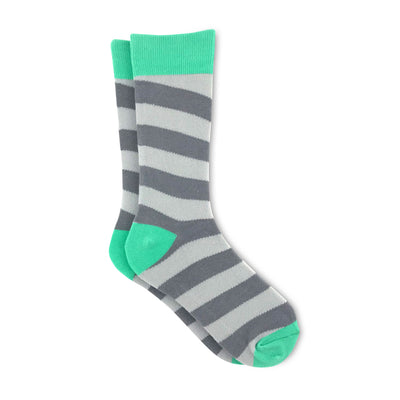 Grey and green striped socks