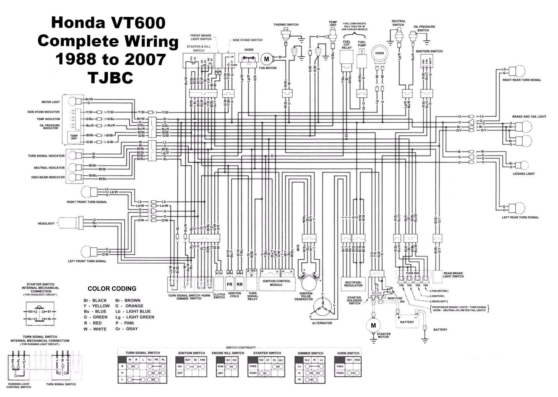 Honda VT750 ACE Wiring Diagram 1998-2000