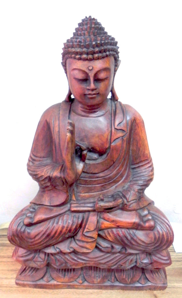 Hand-carved wooden Buddha