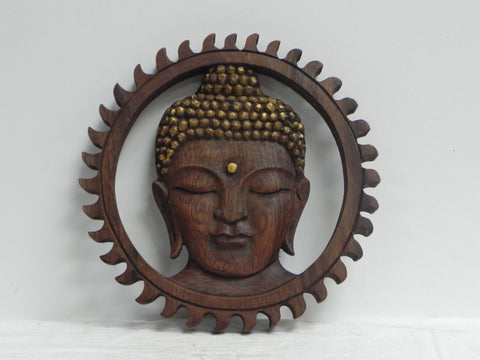 Wooden Buddha face wall hanging