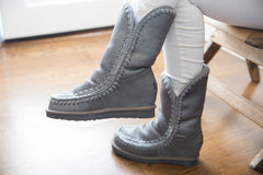 Mou Eskimo Inner Wedge Tall Metallic Silver Boot - Little Moving Spaces