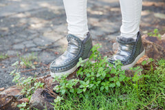 Mou Mini Eskimo Sneaker in Metallic Pewter