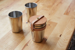 Yield Design Leather + Steel Cup Set