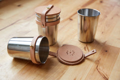 Yield Design Leather + Steel Cup Set - Little Moving Spaces