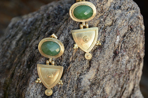 Green Joker Telsum Cut Earrings