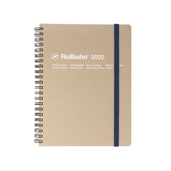 Delfonics - 2020 Rollbahn Diary Notebook - Monthly - A5 - Soft Cover - Beige