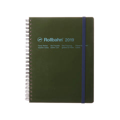 Delfonics - 2019 Rollbahn Diary Notebook - Monthly - A5 - Soft Cover - Olive