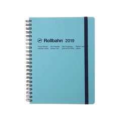 Delfonics - 2019 Rollbahn Diary Notebook - Monthly - A5 - Soft Cover - Light Blue