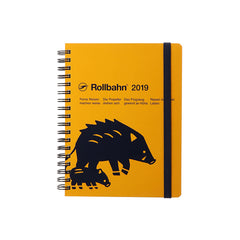 Delfonics - 2019 Rollbahn Diary Notebook - Monthly - Large - Soft Cover - Boar - Yellow