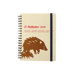 Delfonics - 2019 Rollbahn Diary Notebook - Monthly - Large - Soft Cover - Boar - Cream
