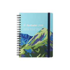 Delfonics - 2019 Rollbahn Diary Notebook - Monthly - Large - Soft Cover - Mountain - Blue