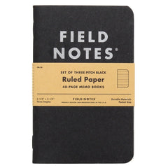 Field Notes Set of Three Notebooks - Pitch Black - Ruled