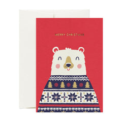 Card Nest - Wrapped up Christmas Bear - Christmas Card