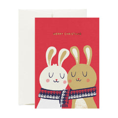 Card Nest - Wrapped up Christmas Bunnies - Christmas Card