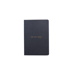 Mi Goals - Get Shit Done - Minimal - A6 - Lined Notebook - Black