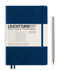 Leuchtturm 2019 Diary - Weekly Planner and Notebook - Medium (A5) - Hardcover - Navy Blue