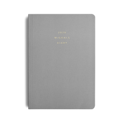 Mi Goals - 2020 Paper Cover Diary - Weekly Notebook - A5 - Soft Cover - Grey