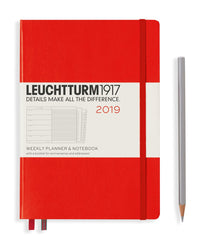 Leuchtturm 2019 Diary - Weekly Planner and Notebook - Medium (A5) - Hardcover - Red