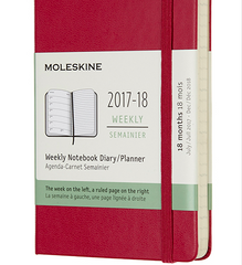 Moleskine 18 Month 2017-2018 Diary - Weekly Planner - Pocket - Hard Cover - Berry Rose
