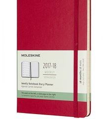 Moleskine 18 Month 2017-2018 Diary - Weekly Planner - Large - Hard Cover - Berry Rose