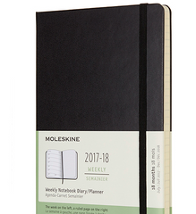 Moleskine 18 Month 2017-2018 Diary - Weekly Planner - Large - Soft Cover - Black