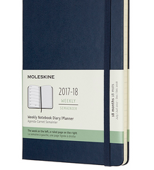 Moleskine 2017-2018 18 Month Diary - Weekly Planner - Large - Hard Cover - Sapphire Blue