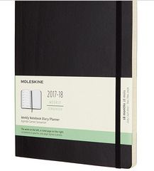 Moleskine 18 Month 2017-2018 Diary - Weekly Planner - Extra Large - Soft Cover - Black
