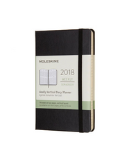 Moleskine - 2018 Hard Cover Diary - Weekly Vertical - Pocket (9x14cm) - Black