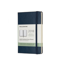 Moleskine - 2018 Hard Cover Diary - Weekly Notebook - Pocket (9x14cm) - Sapphire Blue