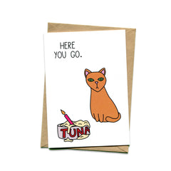Things by Bean - 'Here you go tuna cat' Card