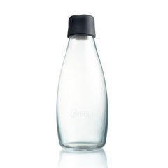 Retap - Glass Water Bottle - Medium 500ml - Black