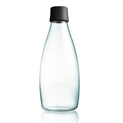 Retap - Glass Water Bottle - Large 800ml - Black