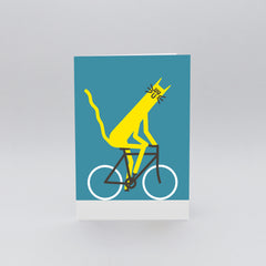 Wrap - Greeting Card - Cycling Cat