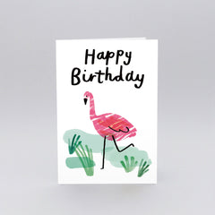 Wrap - Greeting Card - Happy Birthday Flamingo
