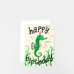 Wrap - Greeting Card  - Happy Birthday Seahorse