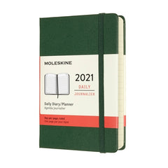 Moleskine - 2021 Hard Cover Diary - Daily - Pocket (9x14cm) - Myrtle Green