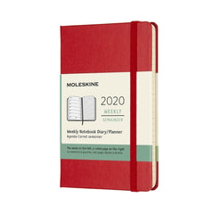 Moleskine - 2020 Hard Cover Diary - Weekly Notebook - Pocket (9x14cm) - Scarlet Red