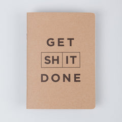 Mi Goals - Get Shit Done - A6 Lined/List Notebook - Kraft/Black