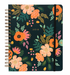 Rifle Paper Co - 2017-2018 17 Month Spiral Bound Planner - Weekly - Large (21x26cm) - Lively Floral