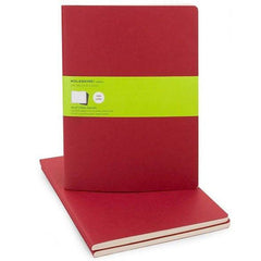 Moleskine Notebook - Cahier - Set of 3 - Extra Large - Plain - Red
