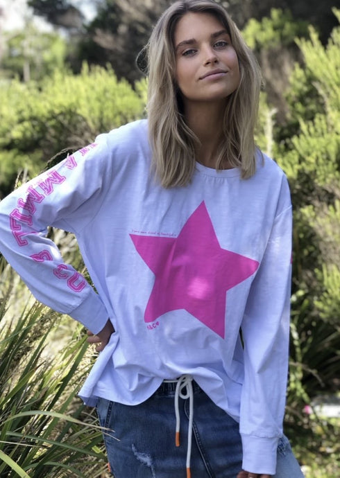 Star Long Sleeve White/Pink
