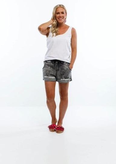 Lagoon Denim Cut Offs Black Wash