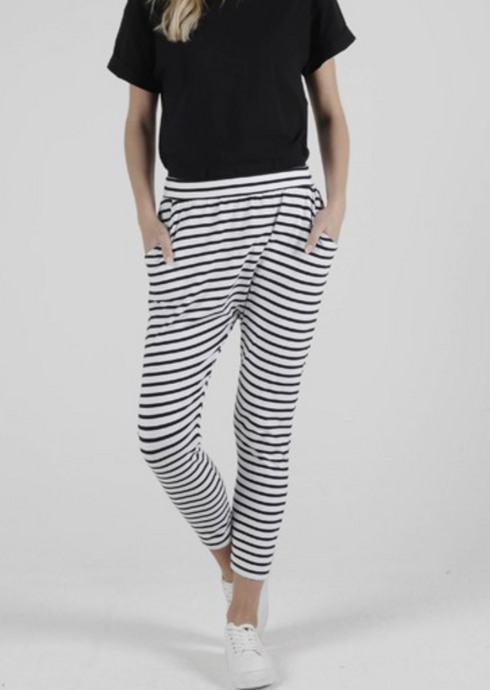 Lola Pant White Black Stripe