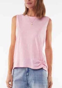 Knot Front Crop Tank Pink