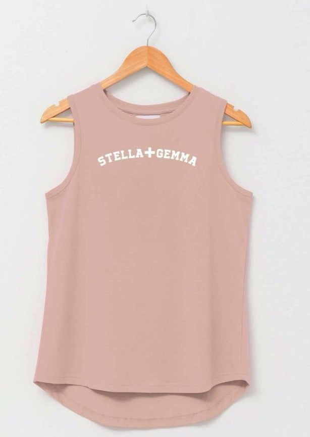Millie Tank Rose Smoke White Logo