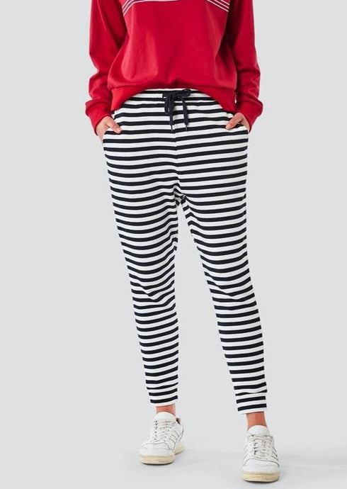 Sadie Trackpant  Navy & White Stripe