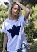Load image into Gallery viewer, Star Tee White/Navy