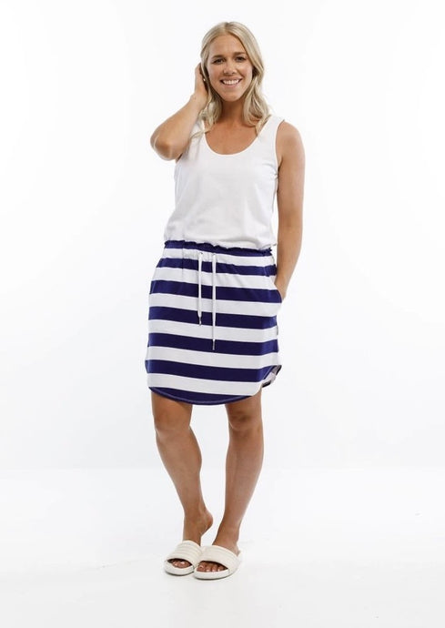 Mini Skirt Navy & White Stripes
