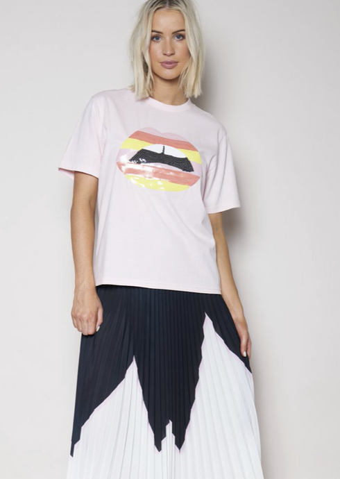 The Vintage Tee Dusty Pink With Stripe Sequins